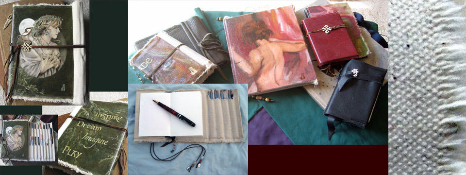Original oil painted covers with roll-up for sketching/writing tools.